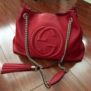 Gucci Bags - Gucci Soho Chain Strap Handbag Red Leather Tote
